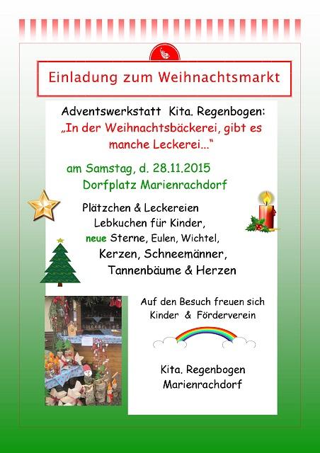 einladung zum weihnachtsmarkt 2015 | kindergarten marienrachdorf, Einladungen