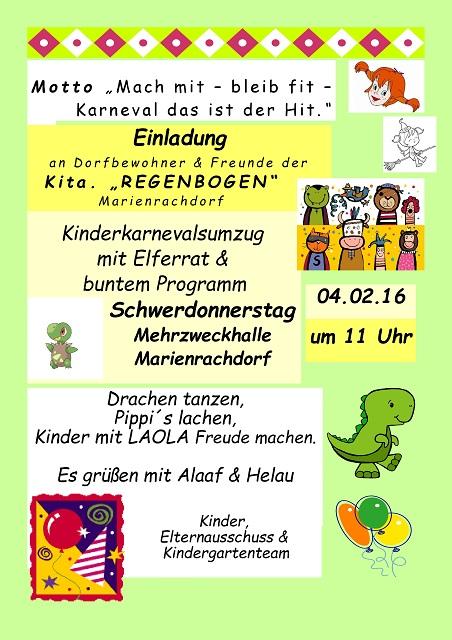 einladung karneval | kindergarten marienrachdorf, Einladung